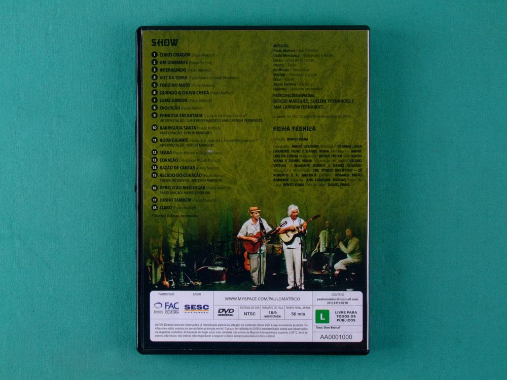 DVD PAULO MATRICO CLARO O CORACAO NO CERRADO NORTHEASTERN REGIONAL BRAZIL