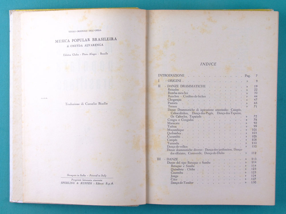 BOOK MUSICA POPOLARE BRASILIANA 1945 ONEYDA ALVARENGA BRAZIL ITALY