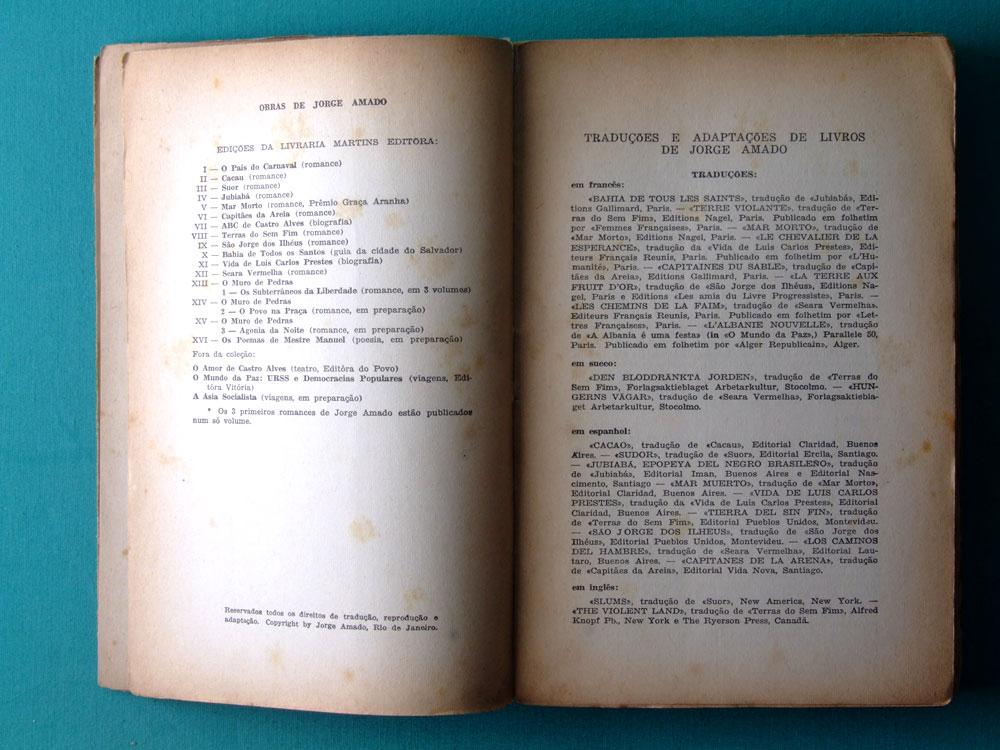 BOOK JORGE AMADO SAO JORGE DOS ILHEUS 1944 / 1954 - 5th EDITION BRAZL