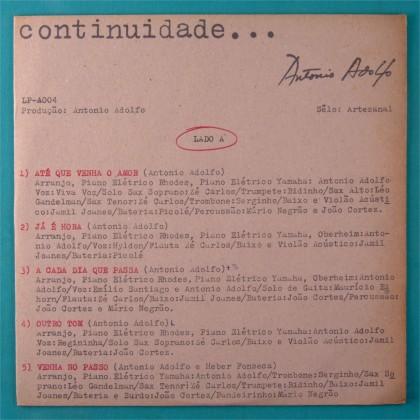 LP ANTONIO ADOLFO CONTINUIDADE JAZZ BOSSA NOVA SOUL BRAZIL
