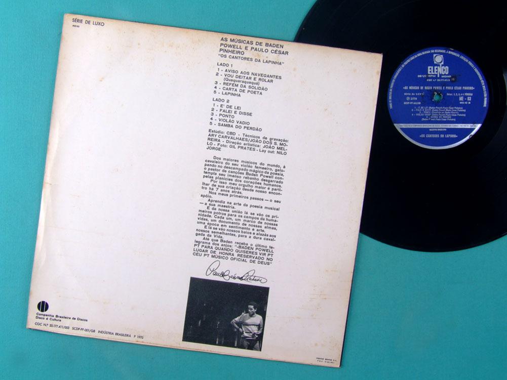 LP BADEN POWELL E PAULO CESAR PINHEIRO OS CANTORES DA LAPINHA 1970 SAMBA BOSSA BRAZIL