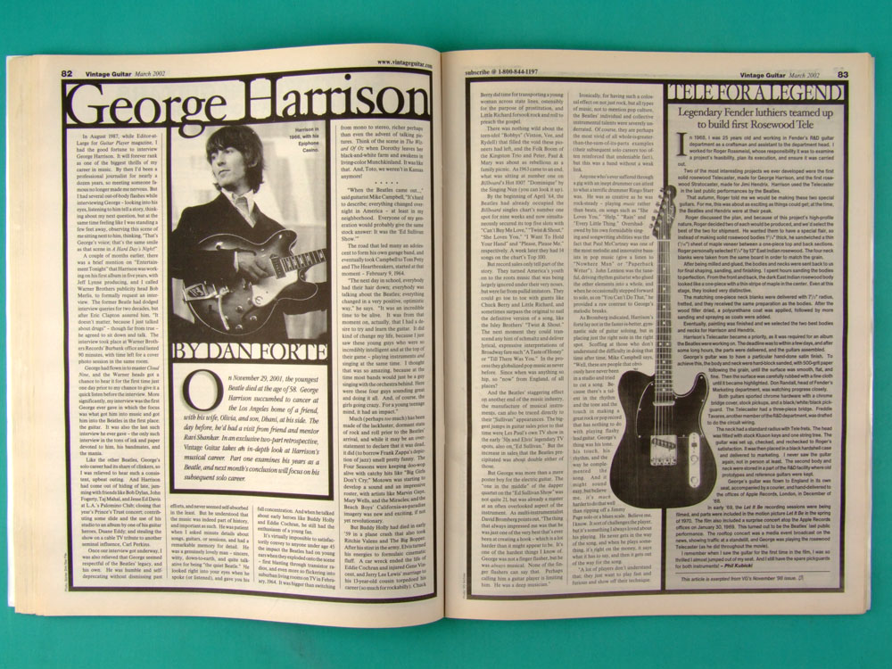 MAG VINTAGE GUITAR GEORGE HARRISON MARCH 2002 VOL.16 NO.5 USA