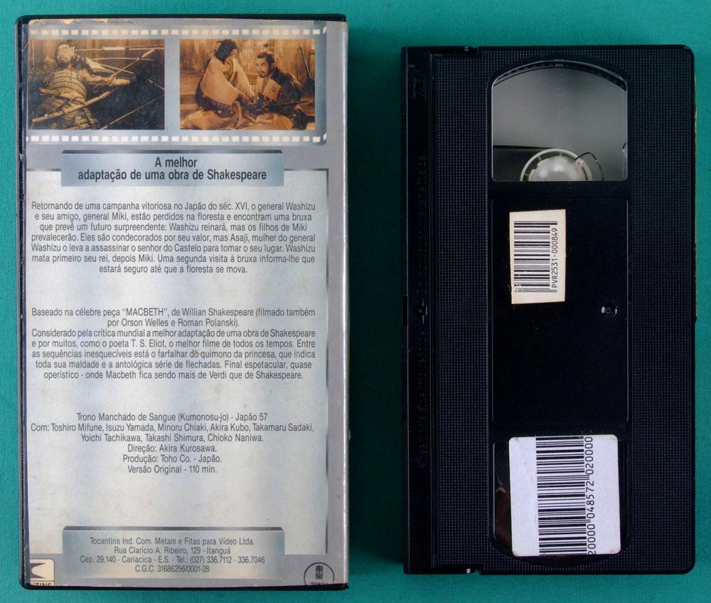 VHS AKIRA KUROSAWA TRONO MANCHADO DE SANGUE WILLIAM SHAKESPEARE BRAZIL