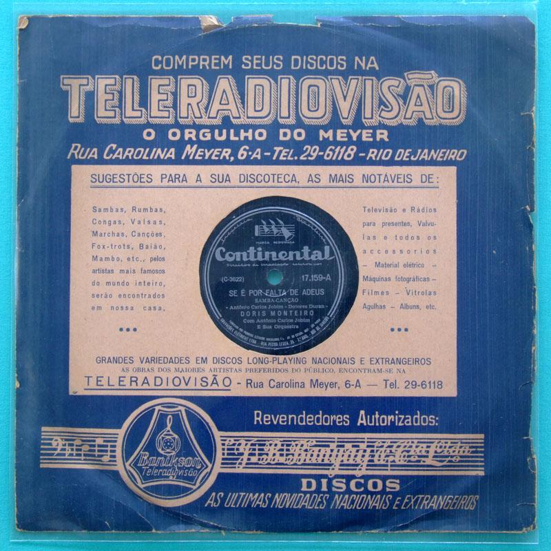 78 RPM DORIS MONTEIRO 1955 BOSSA NOVA SAMBA FOLK BRAZIL