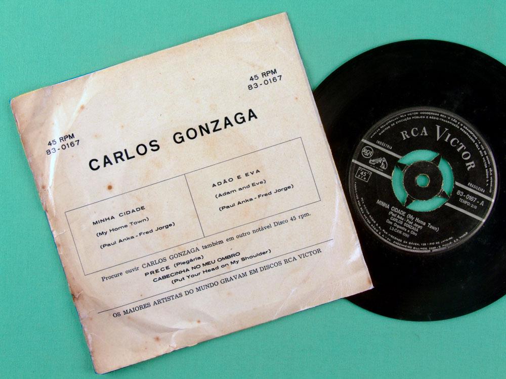 """7"""" CARLOS GONZAGA ADAO E EVA MINHA CIDADE ROCK BRAZIL"""