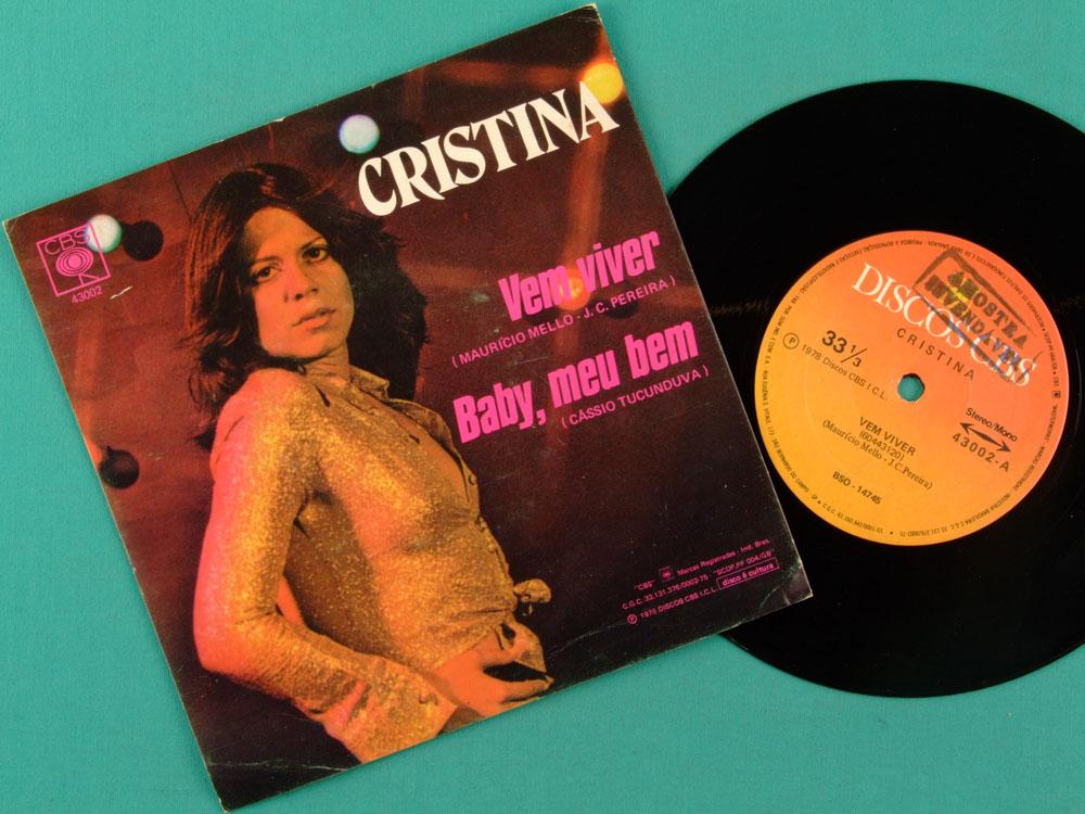 """7"""" CRISTINA LOBA VEM VIVER BABY MEU BEM 1978 OS LOBOS BRAZIL"""