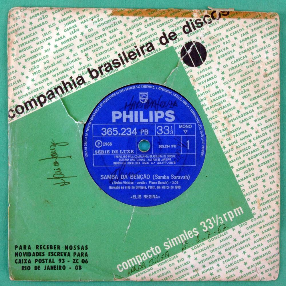 "7"" ELIS REGINA SAMBA DA BENCAO CANCAO DO SAL 1968 BRAZIL"