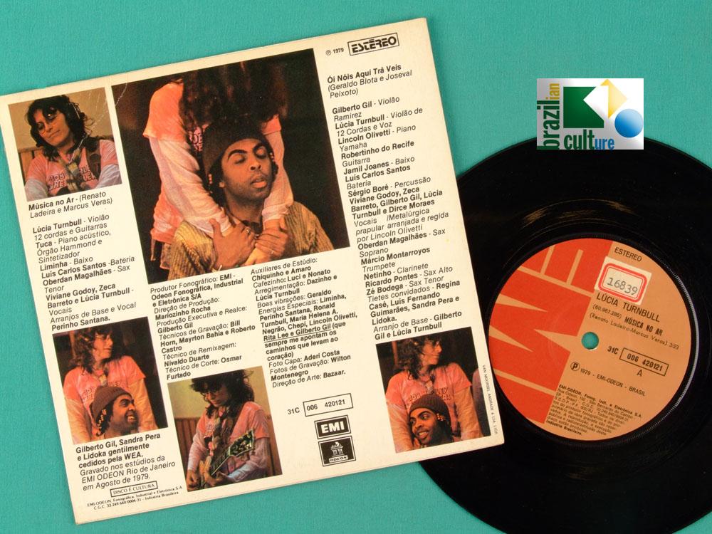 "7"" LUCIA TURNBULL MUSICA NO AR 1979 GILBERTO GIL PSYCH FOLK BRAZIL"