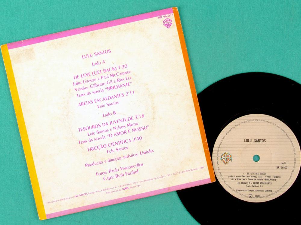 """7"""" LULU SANTOS DE LEVE 1981 SOUL GROOVE FUNK EP BRAZIL"""