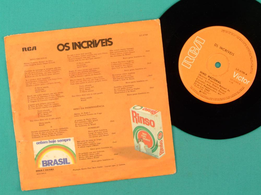 "7"" OS INCRIVEIS HINO NACIONAL FOLK BEAT HYMN 1971 BRAZIL"