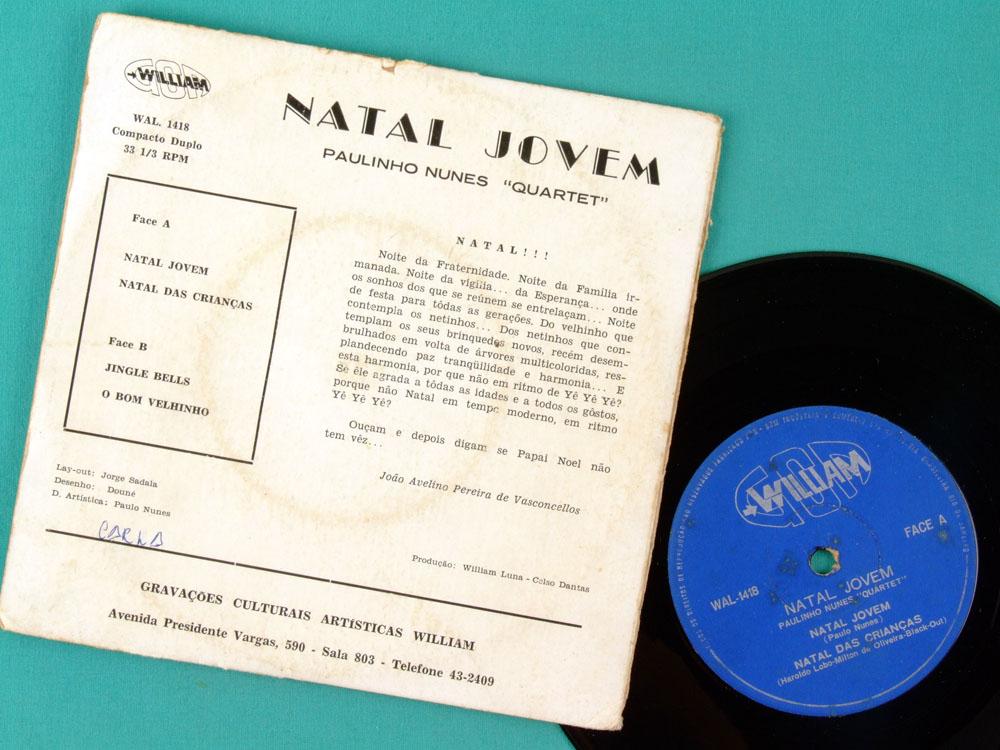 "7"" PAULINHO NUNES NATAL JOVEM JINGLE BELLS EP BRAZIL"