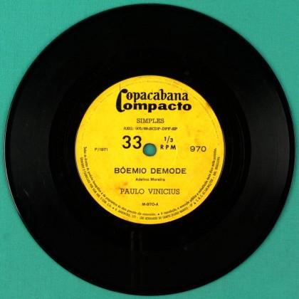 "7"" PAULO VINICIUS BOEMIO DEMODE SAMBA FOLK 1971 BRAZIL"