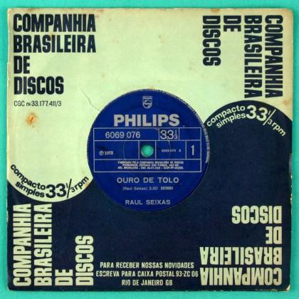 """7"""" RAUL SEIXAS OURO DE TOLO 1973 PSYCH ROCK FOLK BRAZIL"""