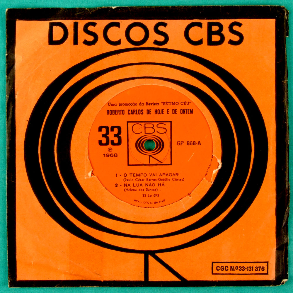 "7"" ROBERTO CARLOS DE HOJE E DE ONTEM 1968 FOLK EP BRASIL"