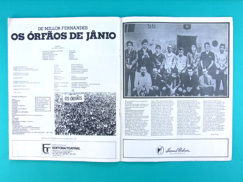 MAG PROGRAM OF THE PLAY ORFAOS DE JANIO 1980 MILLOR FERNANDES HISTORY BRAZIL