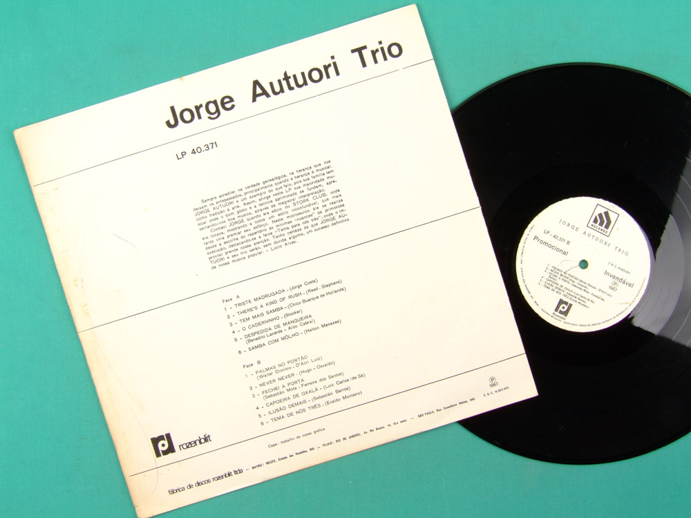 LP JORGE AUTUORI TRIO 1967 GROOVE FOLK BOSSA JAZZ BRAZIL