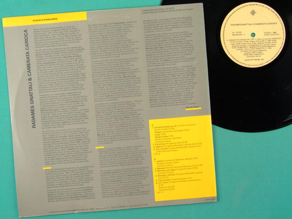 LP RADAMES GNATTALI E CAMERATA CARIOCA PIANO 1984 BRAZIL