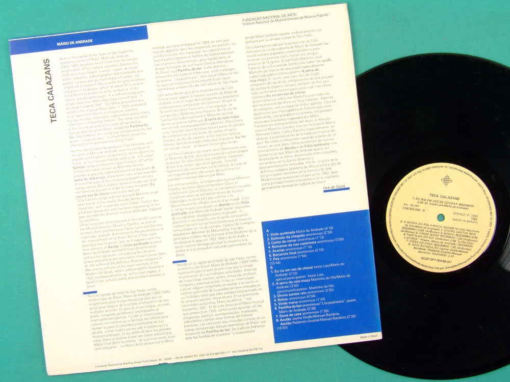 LP TECA CALAZANS 1983 - MARIO 300, 350 - FUNARTE PRIVATE BRAZILIAN POPULAR MUSIC BRAZIL