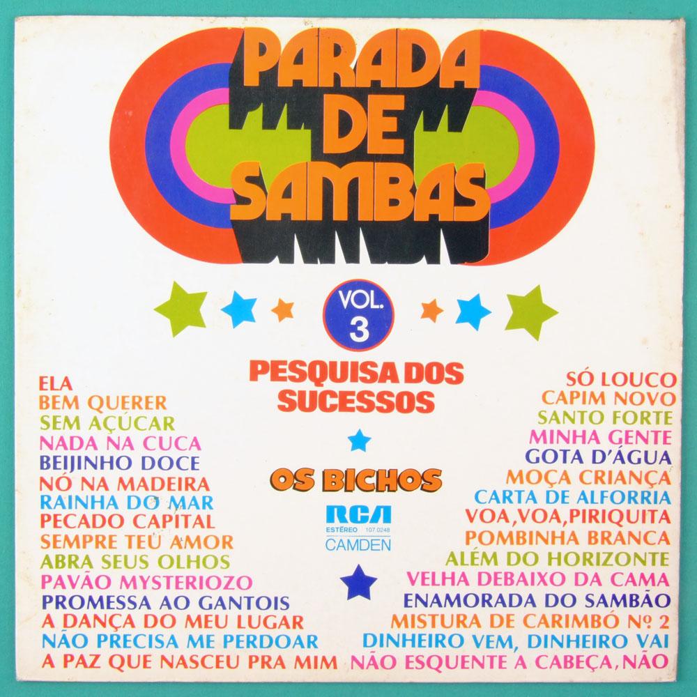 LP OS BICHOS PARADA DE SAMBAS VOL 3 PESQUISA DOS SUCESSOS FOLK SAMBA FUNK BRAZIL