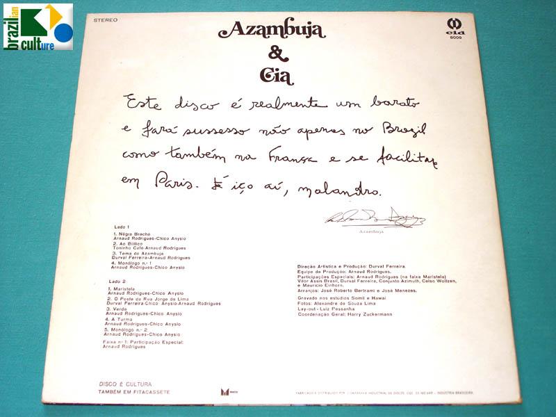 LP AZAMBUJA AZYMUTH ARNAUD RODRIGUES GROOVE SOUL FUNK DJ NEAR MINT BRAZIL