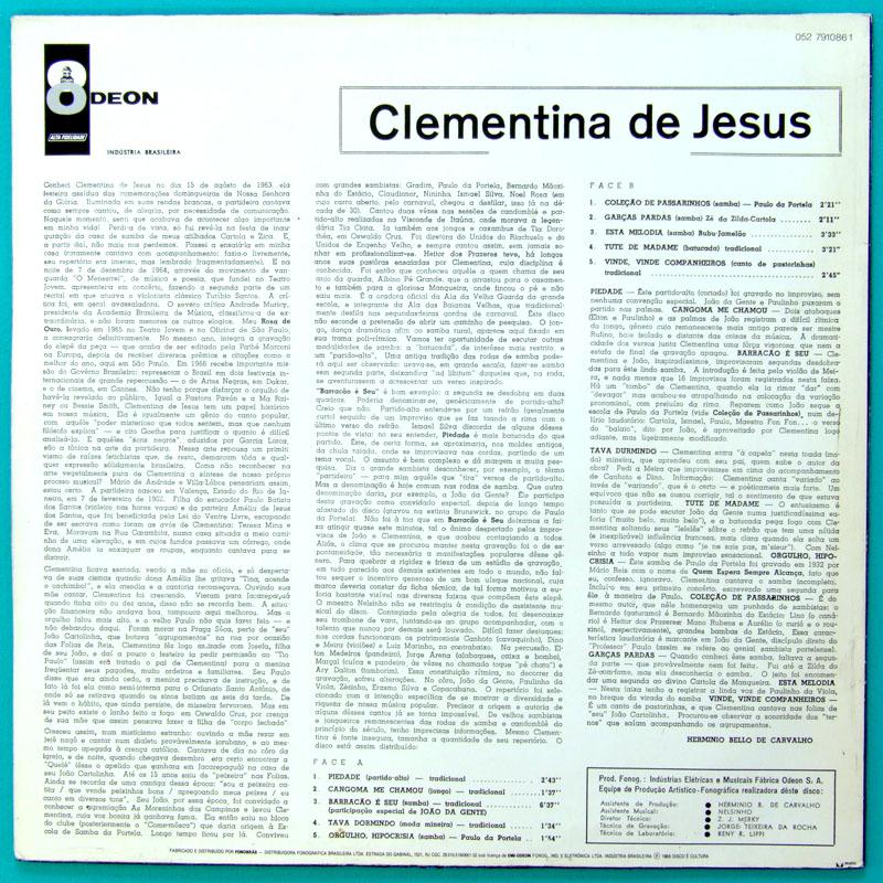 LP CLEMENTINA DE JESUS DEBUT SAMBA ROOTS REISSUE BRAZIL