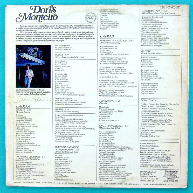 LP DORIS MONTEIRO 1981 BOSSA NOVA MELLOW SAMBA FOLK BRAZIL