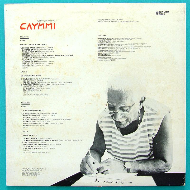 LP DORIVAL CAYMMI SETENTA ANOS BOSSA SAMBA 1984 BRAZIL