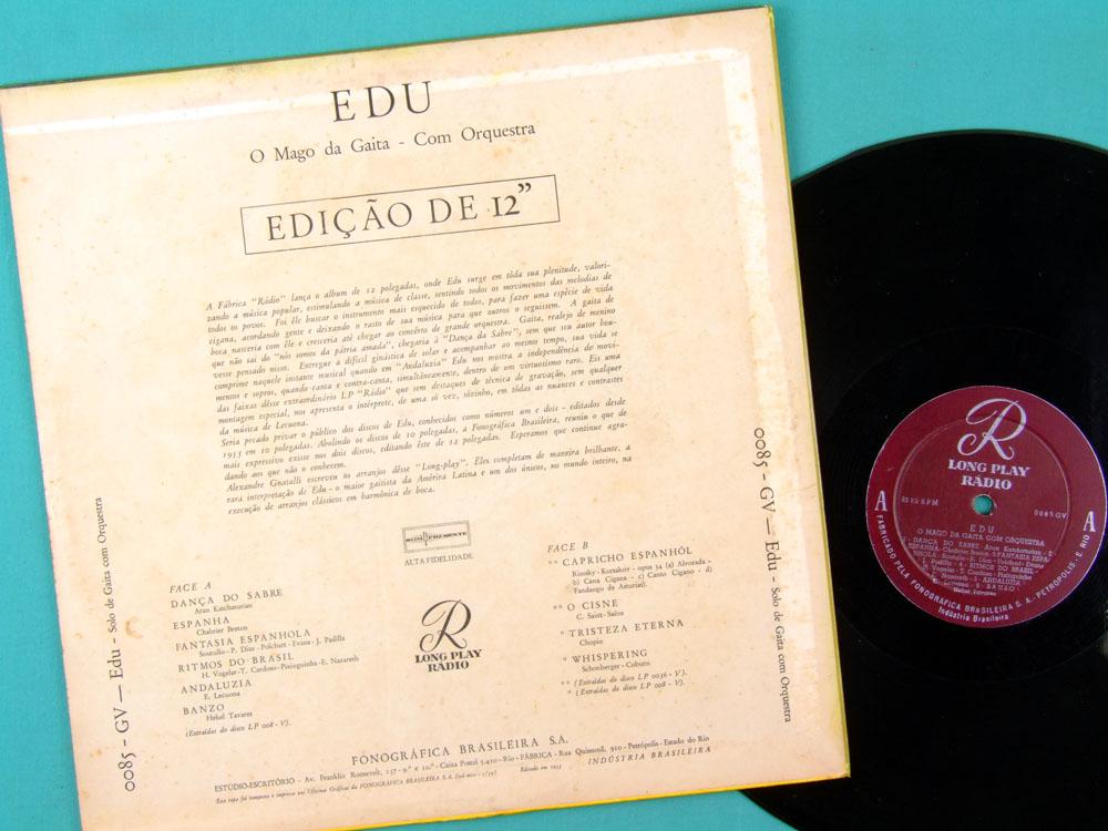 LP EDU DA GAITA O MAGO DA GAITA HARMONICA FOLK ERUDITE CLASSICAL BRAZIL