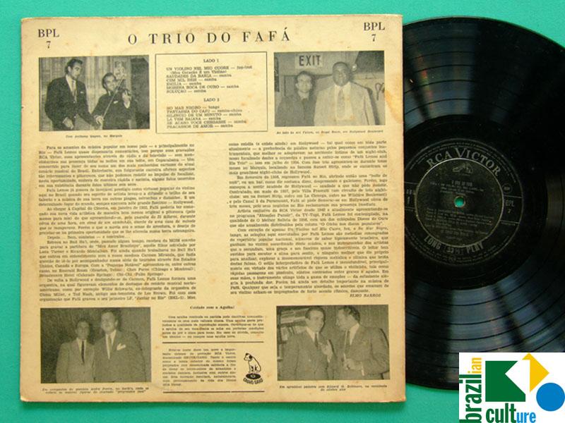 LP FAFA LEMOS TRIO DO FAFA 1958 VIOLIN SAMBA FOLK REGIONAL BRASIL