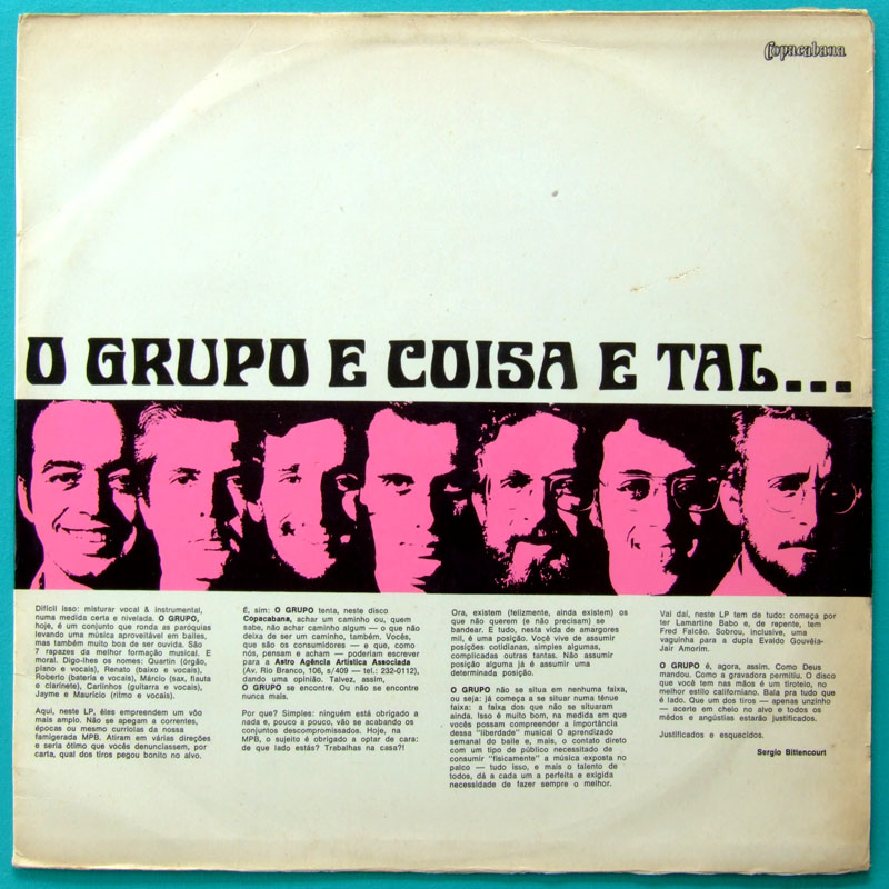 LP O GRUPO E COISA E TAL CHOIR VOCAL BOSSA FOLK BRAZIL