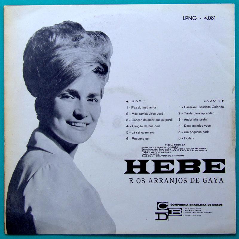 LP HEBE CAMARGO 1964 GAYA FOLK BOSSA NOVA SAMBA BRAZIL