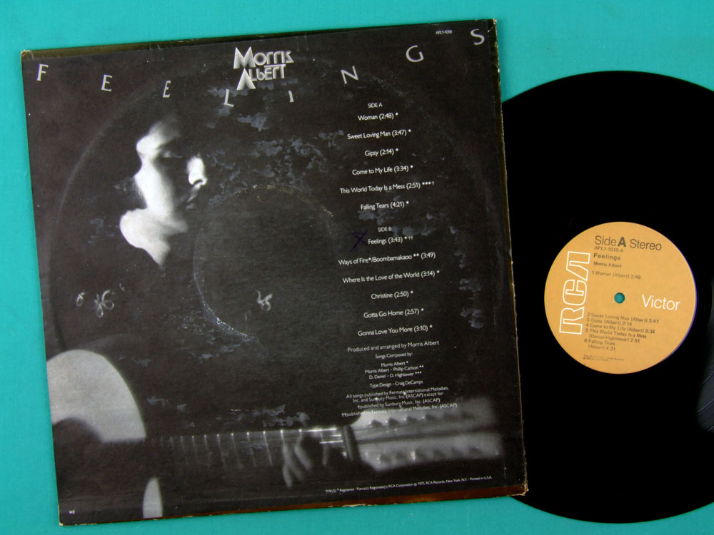LP MORRIS ALBERT FEELINGS 1975 SOFT ROCK FOLK BRAZIL USA  EDICAO NORTE AMERICANA