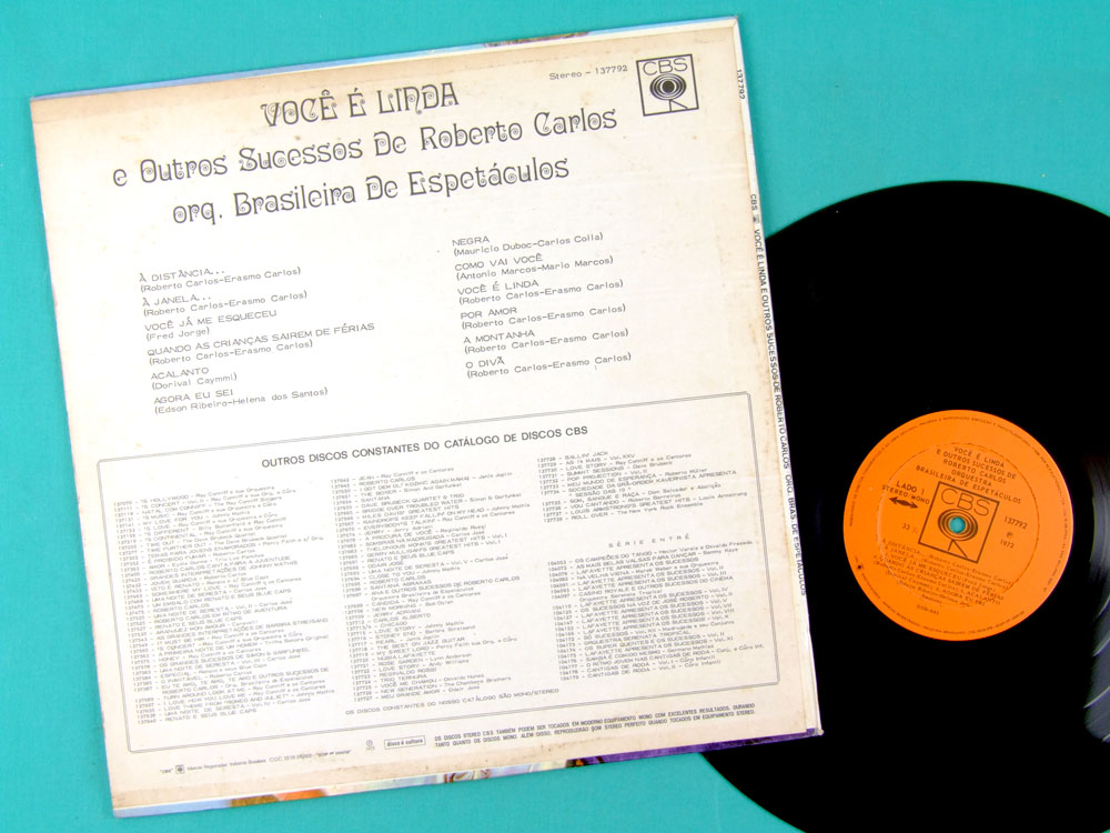 LP ORQUESTRA BRASILEIRA ESPETACULOS ROBERTO CARLOS 1972 BRAZIL