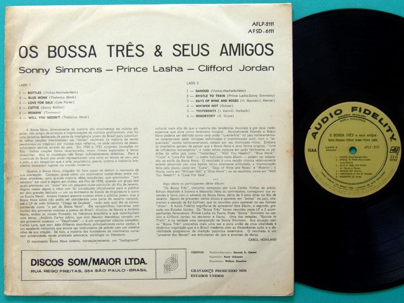 LP BOSSA TRES E SEUS AMIGOS OS BOSSA 3 1965 LUIZ CARLOS VINHAS EDISON MACHADO BRAZIL