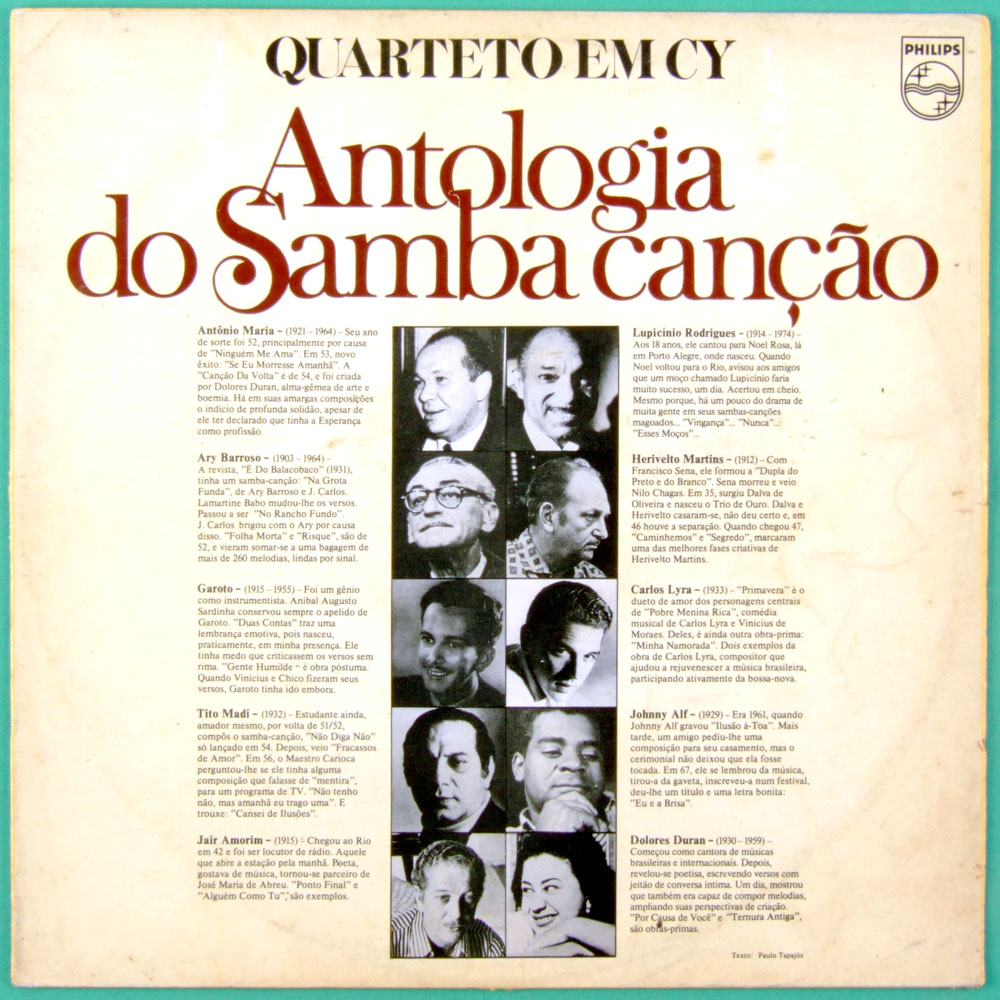 LP QUARTETO EM CY ANTOLOGIA DO SAMBA CANCAO 1975 JAZZ BRAZIL