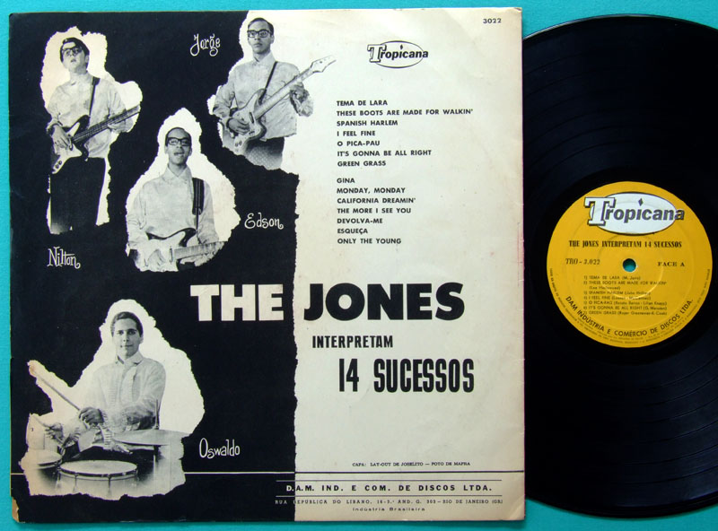 LP THE JONES INTERPRETAM 14 SUCESSOS 1966 INSTRUMENTAL BEAT GARAGE POP JOVEM GUARDA BRAZIL