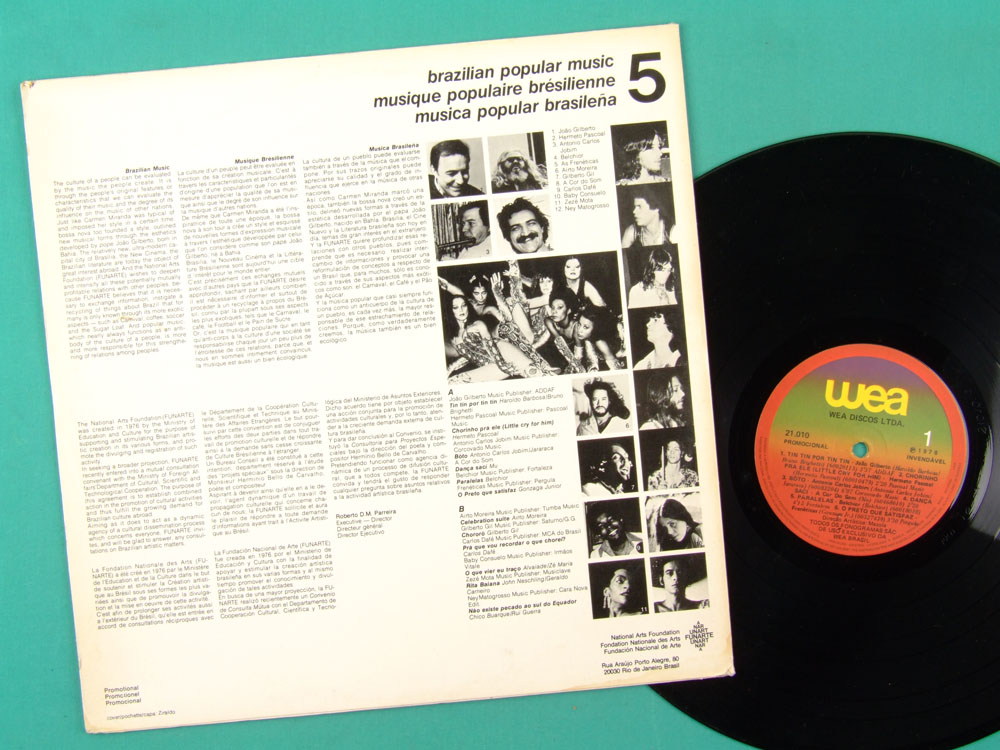 LP JOAO GILBERTO HERMETO TOM JOBIM GILBERTO GIL BRAZILIAN POPULAR MUSIC 5 1978 BRAZIL