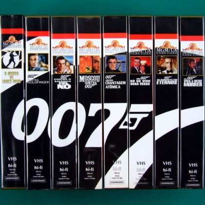 VHS 007 JAMES BOND COLLECTION 8 TAPES 1961-1973 MAKING OF MGM GOLDFINGER BRAZIL